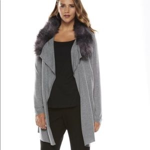 Jennifer Lopez Dark Grey Faux Fur Sweater Cardigan
